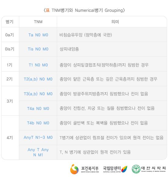 TNM병기와Numerical병기Grouping