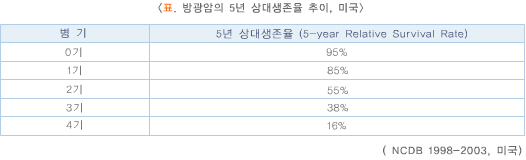 표.방광암의5년상대생존율추이_미국